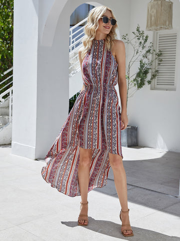 Aztec Print High Low Tie Back Halter Dress
