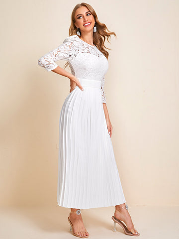 Lace Bodice Pleated Hem Dress