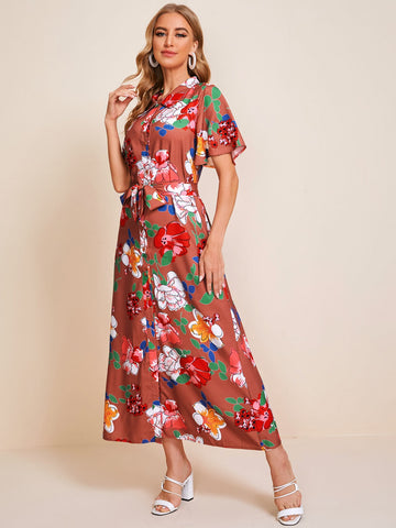 Large Floral Self Tie Button Up Shirt Dress