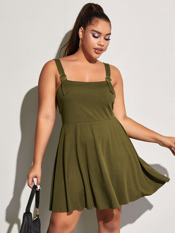 Plus Ribbed Ring Strap Cami Dress