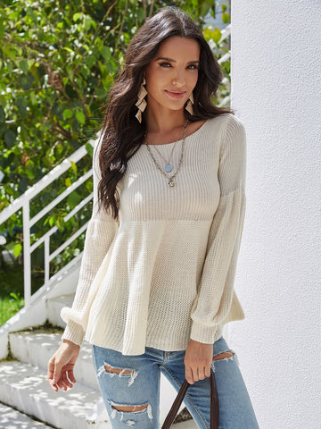 Bishop Sleeve Ruffle Hem Sweater