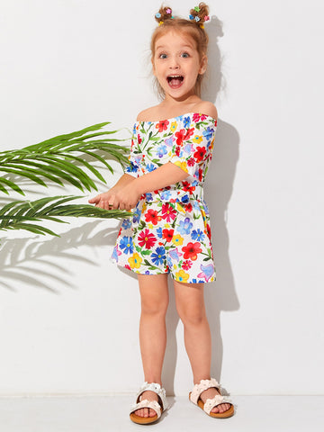Toddler Girls Allover Floral Belted Bardot Romper