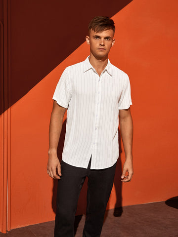 Men Vertical Striped Button Through Shirt