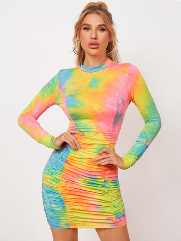 Tie Dye Mock Neck Ruched Front Bodycon Dress
