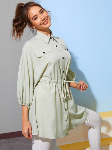 Button Front Drawstring Waist Blouse