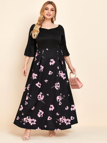 Plus Bell Sleeve Fold Pleated Floral Dress