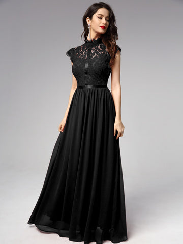 Ribbon Detail Lace Bodice Chiffon Prom Dress