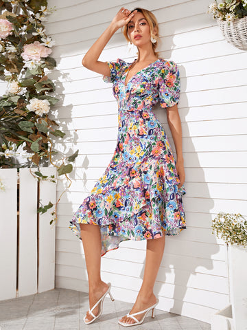 Plunging Neck Allover Floral Ruffle Hem Dress