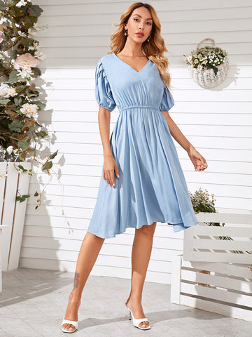 Pleated Bishop Sleeve A-line Dress