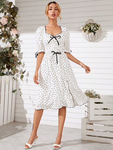 Allover Heart Print Lettuce Trim Dress