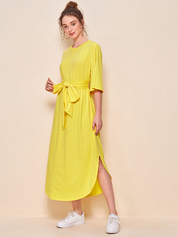 Self Belted Curved Hem Dress