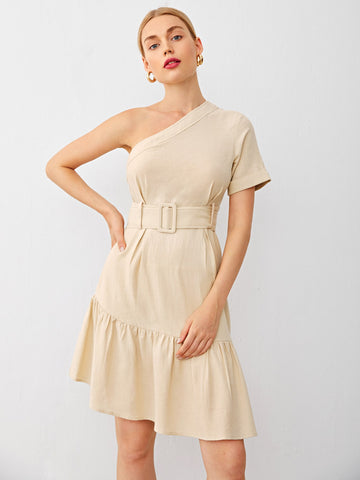 One Shoulder Flounce Hem Buckle Belted Dress