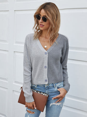 V-neck Button Front Ribbed Knit Cardigan