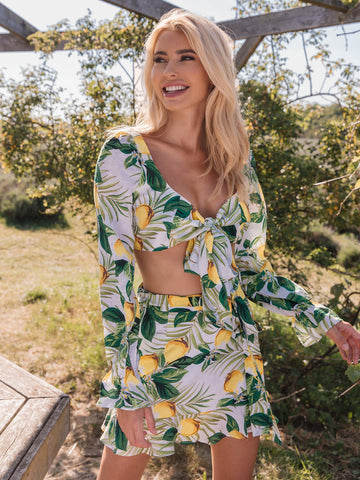 Lemon and Tropical Print Tie Front Top and Skirt Set