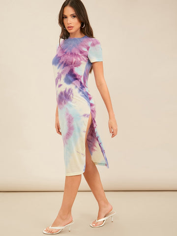Split Thigh Tie Dye Dress