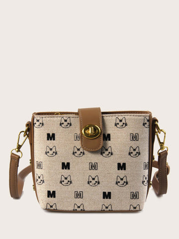 Twist Lock Cartoon Graphic Crossbody Bag