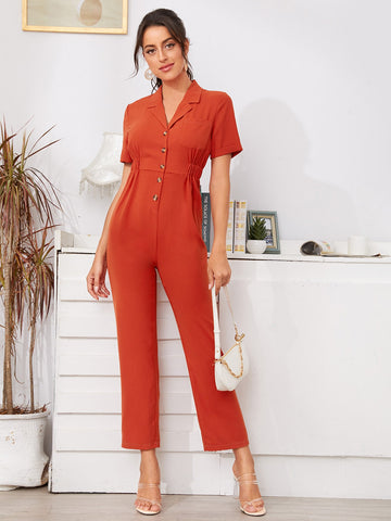 Solid Button Front Shirt Jumpsuit