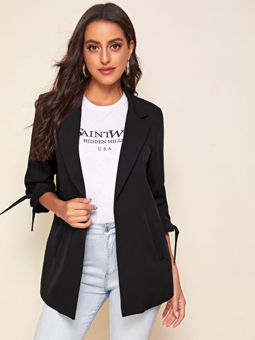 Notched Collar Knot Cuff Blazer