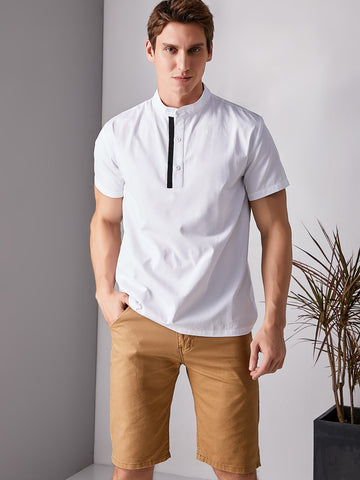 Men Stand Collar Contrast Tape Half Placket Shirt