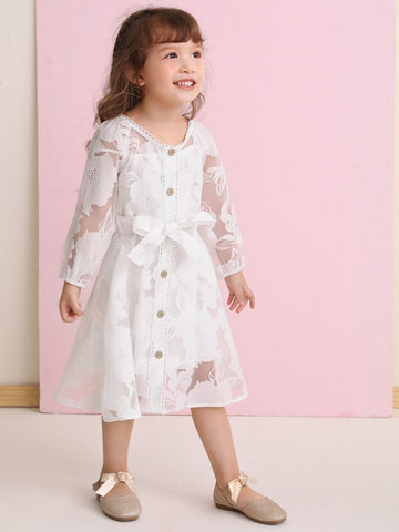 Toddler Girls Floral Mesh Belted Dress With Cami Dress