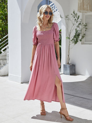 Frill Cuff Slit Hem Shirred Bodice Dress
