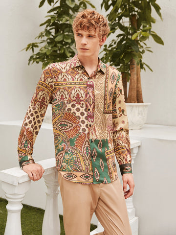 Men Tribal Print Patchwork Shirt