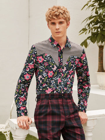 Men Gingham Panel Floral Print Shirt