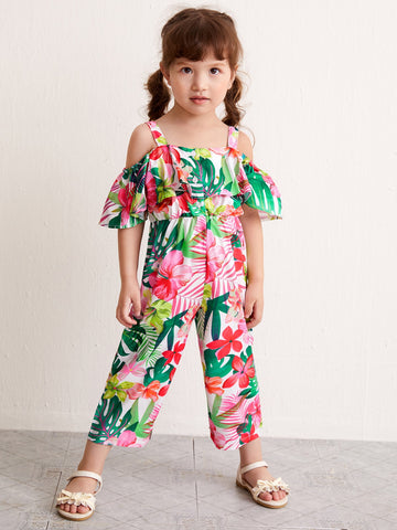 Toddler Girls Floral And Tropical Print Cold Shoulder Jumpsuit