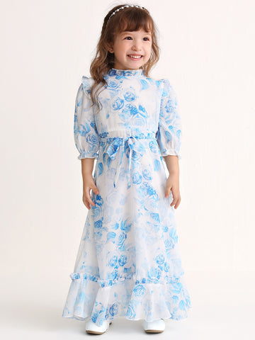 Toddler Girls Allover Floral Ruffle Neck Belted Dress