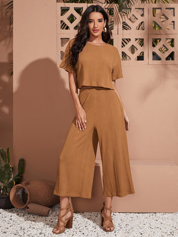 Drop Shoulder Solid Plisse Top & Palazzo Pants Set