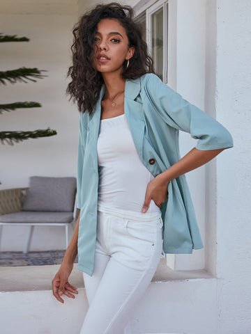 Single-breasted Lapel Neck Blazer