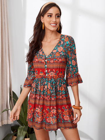 Tribal Floral Flounce Sleeve Half Button Flare Dress