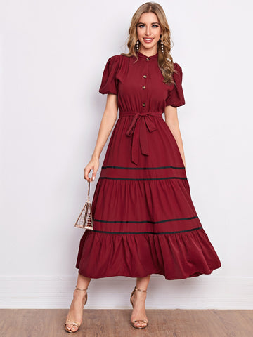 Puff Sleeve Ruffle Hem Self Tie Shirt Dress