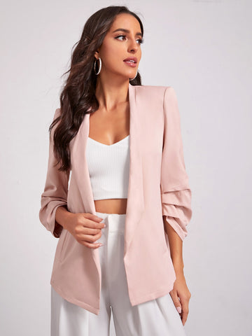 Shawl Collar Gathered Cuff Blazer