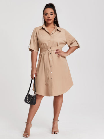 Plus Button Up O-Ring Belted Shirt Dress