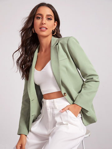 Notch Collar Pocket Front Single Breasted Blazer