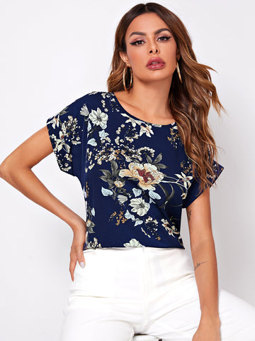 Cuffed Sleeve Floral Print Top