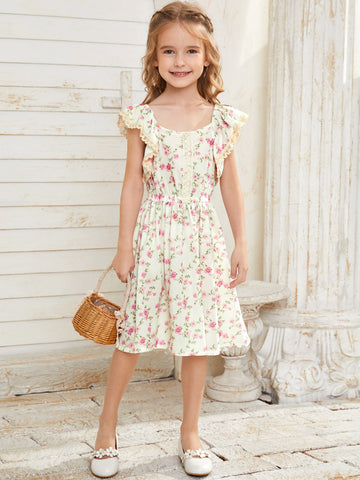 Toddler Girls Floral Print Contrast Lace Dress