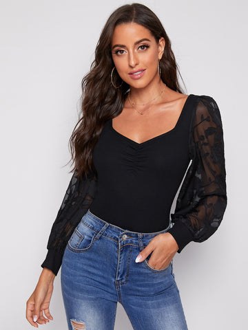 Sweetheart Neck Appliques Sleeve Ruched Front Top