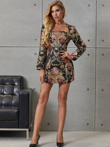 Square Neck Floral Embroidery Dress
