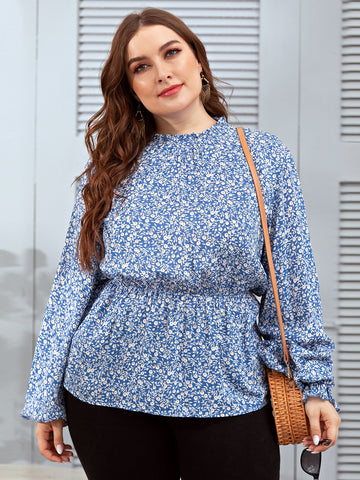Plus Ditsy Floral Frill Neck Peplum Blouse