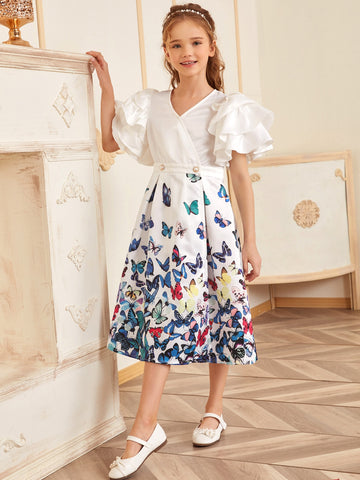Girls Surplice Neck Exaggerate Ruffle Sleeve Butterfly Satin Dress