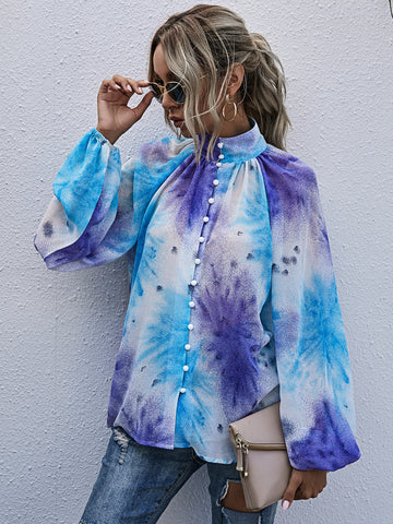Chiffon Tie Dye Bishop Sleeve Blouse