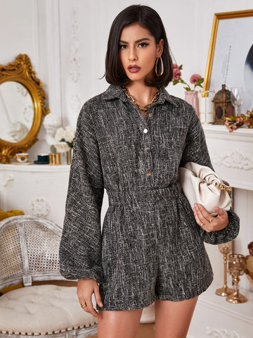 Button Front Lantern Sleeve Tweed Romper