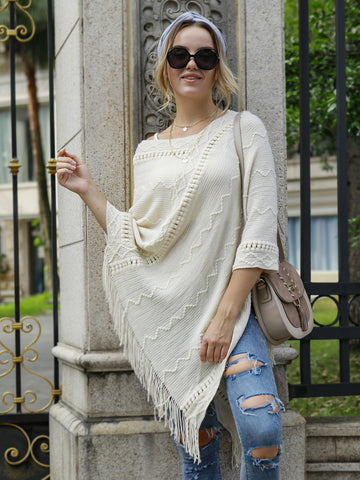 Fringe Trim Pom Pom Detail Rib-knit Poncho Sweater
