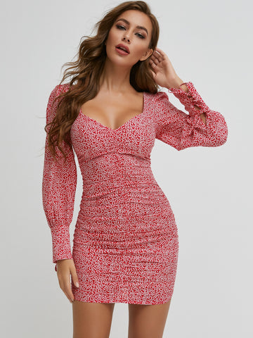 Sweetheart Neck All Over Print Dress