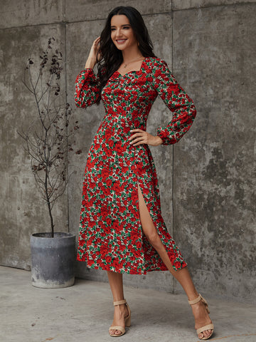 Allover Floral Print Sweetheart Neck Split Thigh Dress
