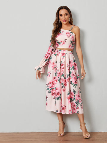 Asymmetrical Neck Flounce Sleeve Floral Top and Skirt Set