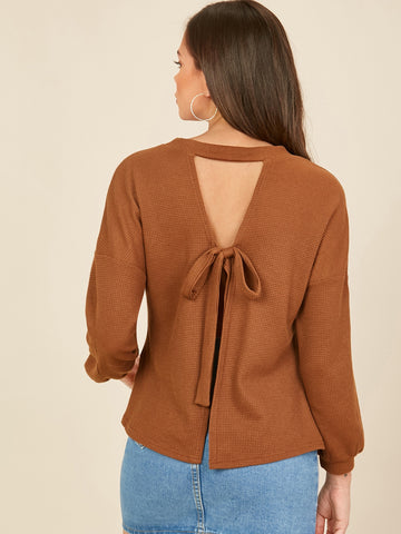 Drop Shoulder Cut Out Tie Back Top