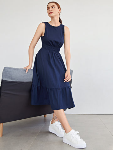 Shirred Waist Flounce Hem Dress